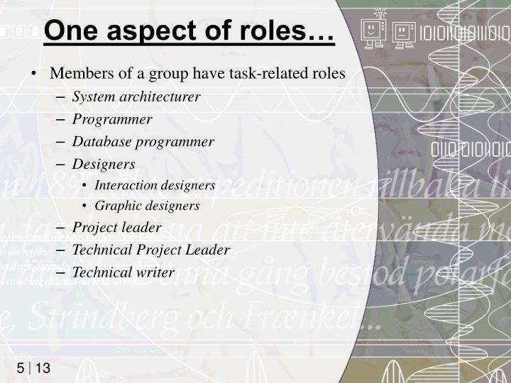 One aspect of roles…