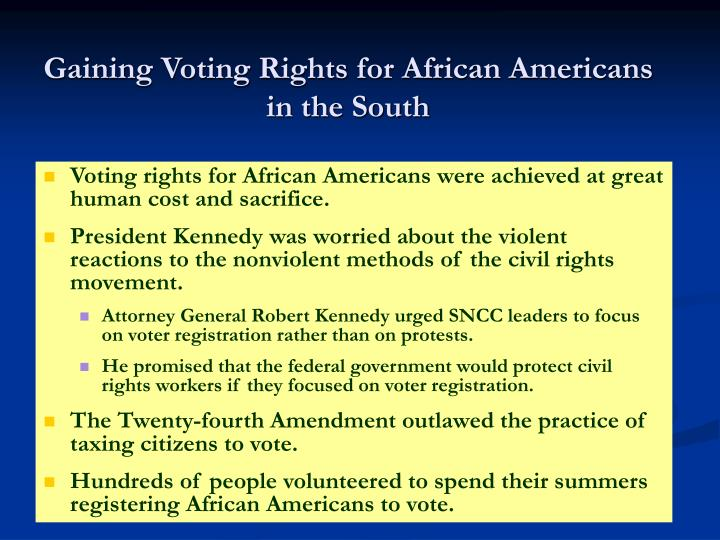 Gaining Voting Rights for African Americans