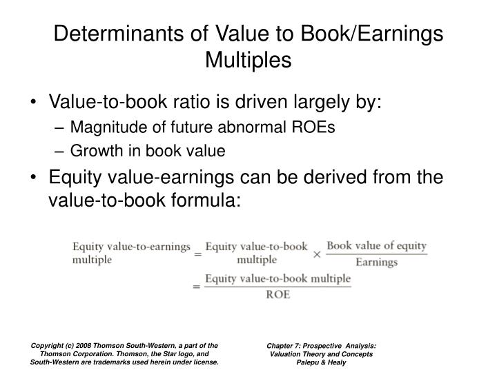 Determinants of Value to Book/Earnings Multiples