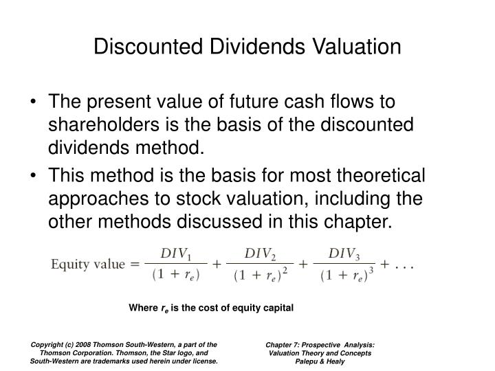 Discounted dividends valuation