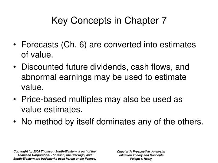 Key concepts in chapter 7