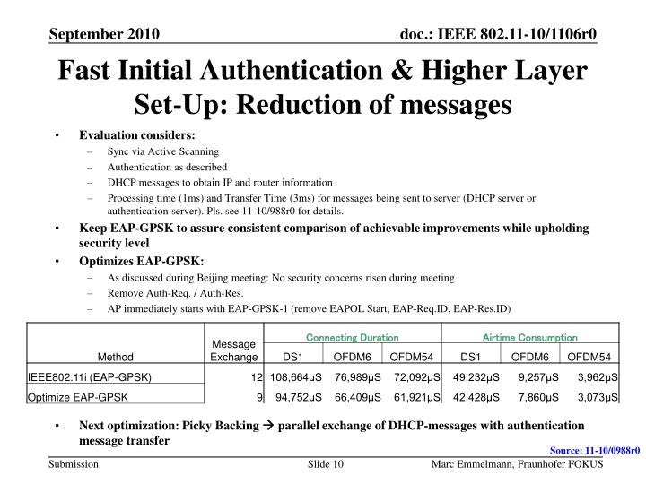 Fast Initial Authentication & Higher Layer Set-Up: Reduction of messages