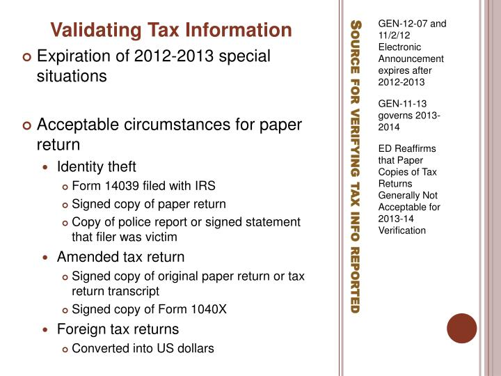 Validating Tax Information