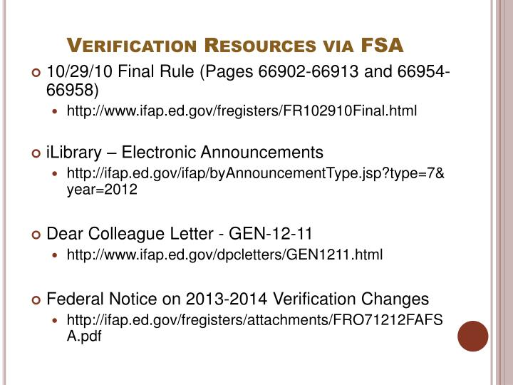 Verification Resources via FSA