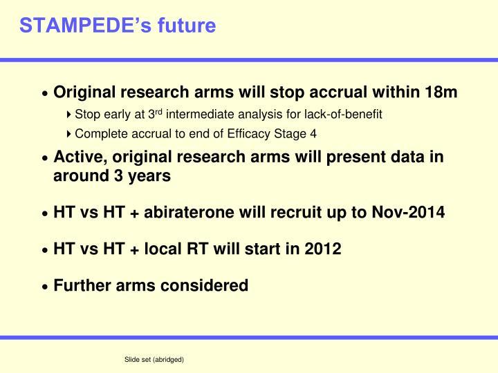 STAMPEDE's future