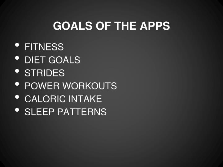 Goals of the apps