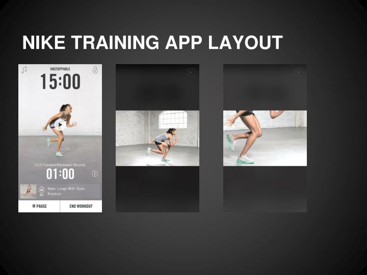 NIKE TRAINING APP LAYOUT