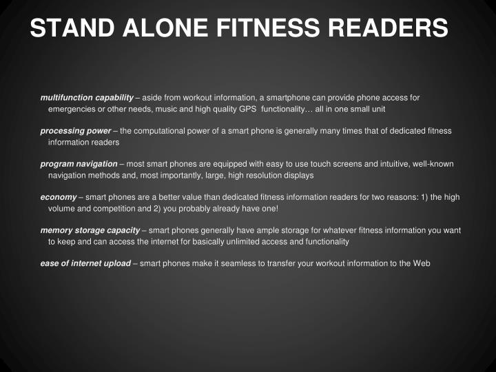 STAND ALONE FITNESS READERS