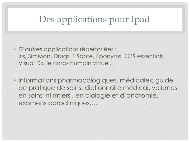 Des applications pour