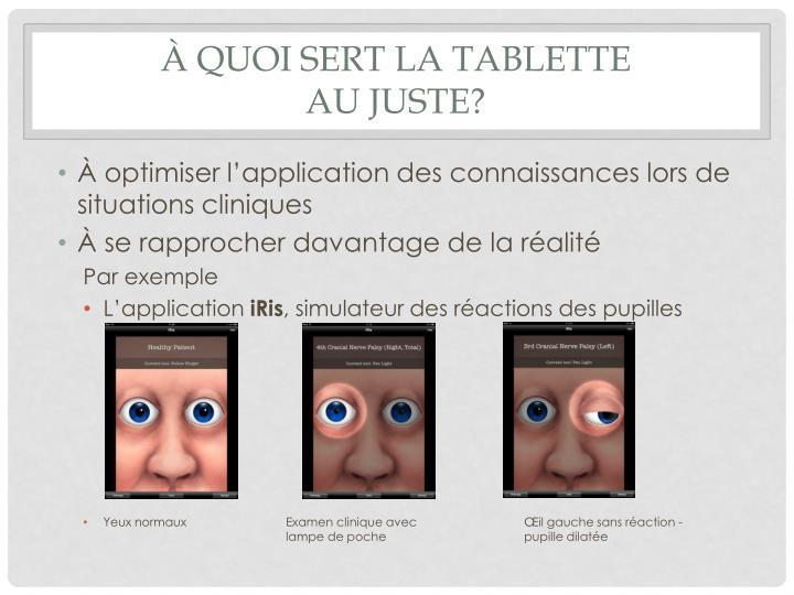 À quoi sert la tablette
