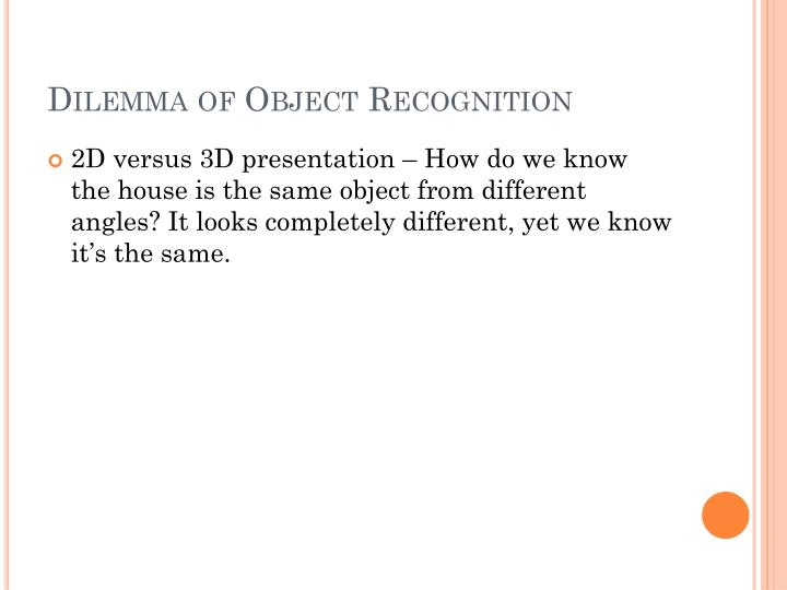 Dilemma of Object Recognition