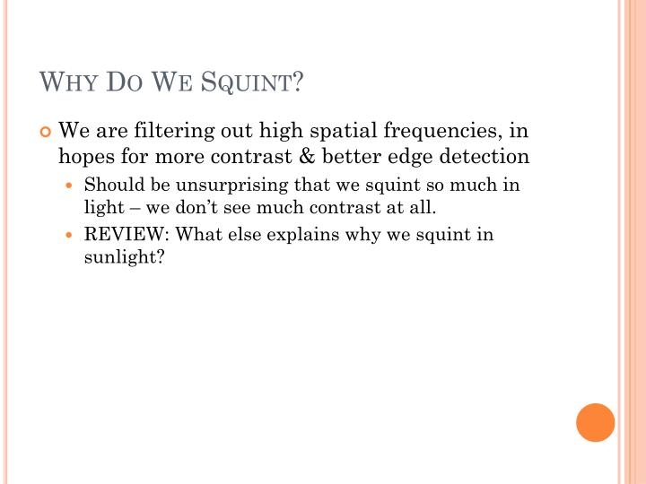 Why Do We Squint?
