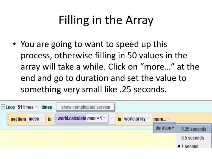 Filling in the Array