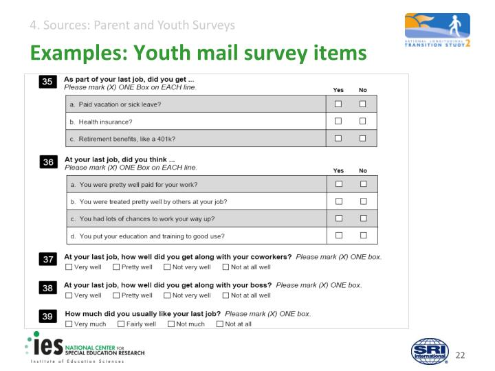 Examples: Youth mail survey items