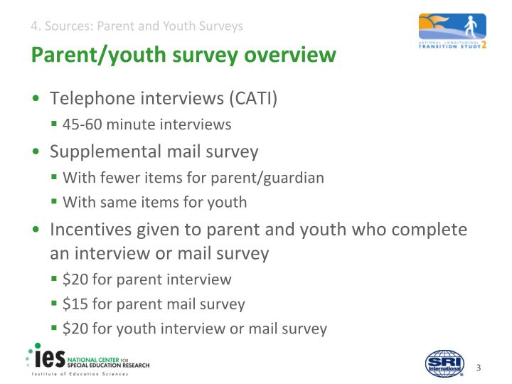 Parent/youth survey overview