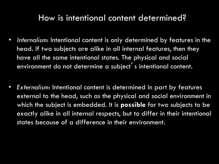 How is intentional content determined?