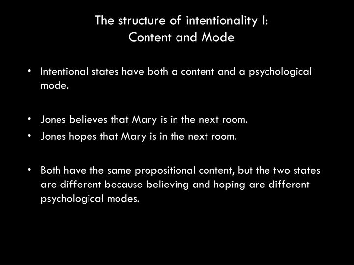 The structure of intentionality I: