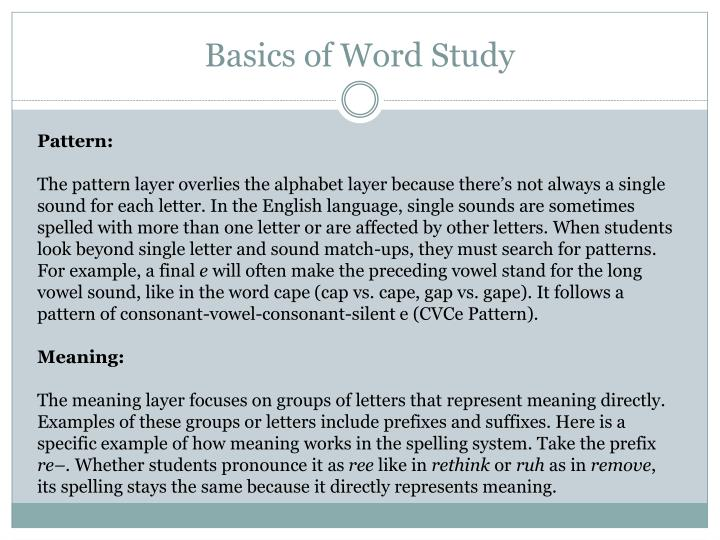 Basics of Word Study