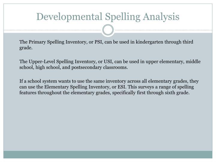 Developmental Spelling Analysis