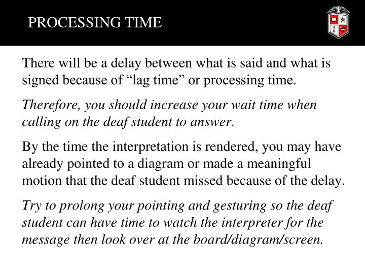PROCESSING TIME
