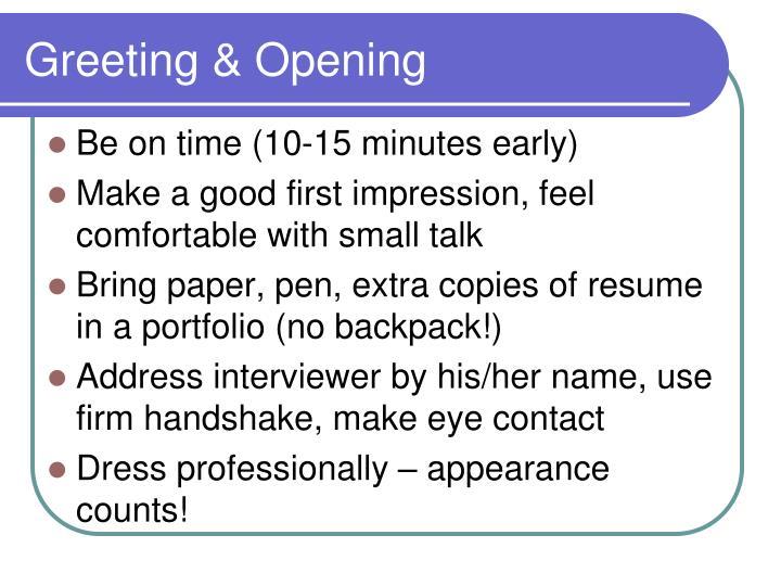 Greeting & Opening