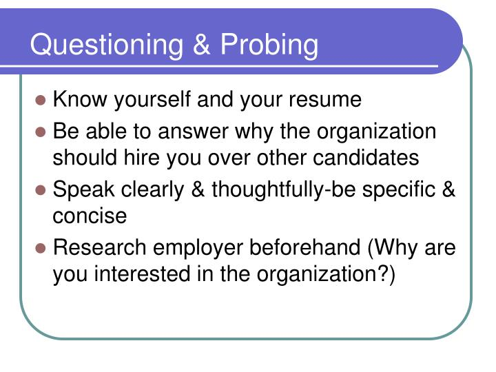 Questioning & Probing
