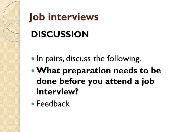 Job interviews