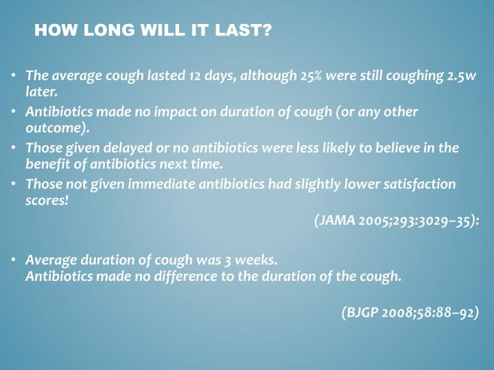 The average cough lasted 12 days, although 25% were still coughing 2.5w later.
