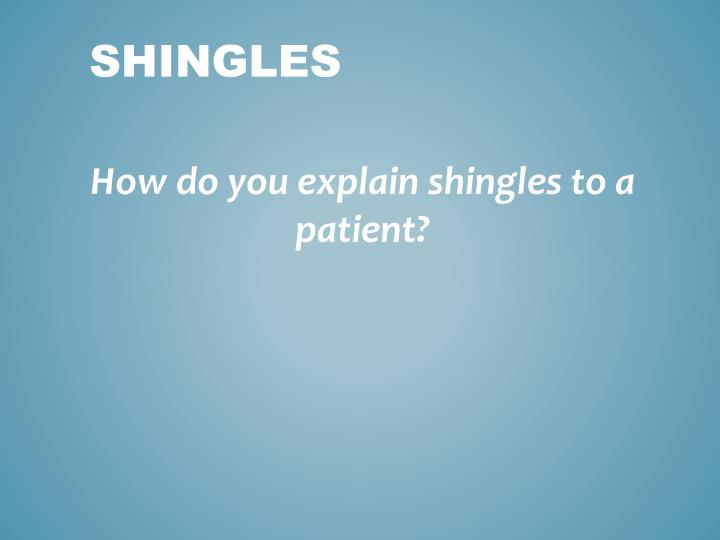 How do you explain shingles to a patient?