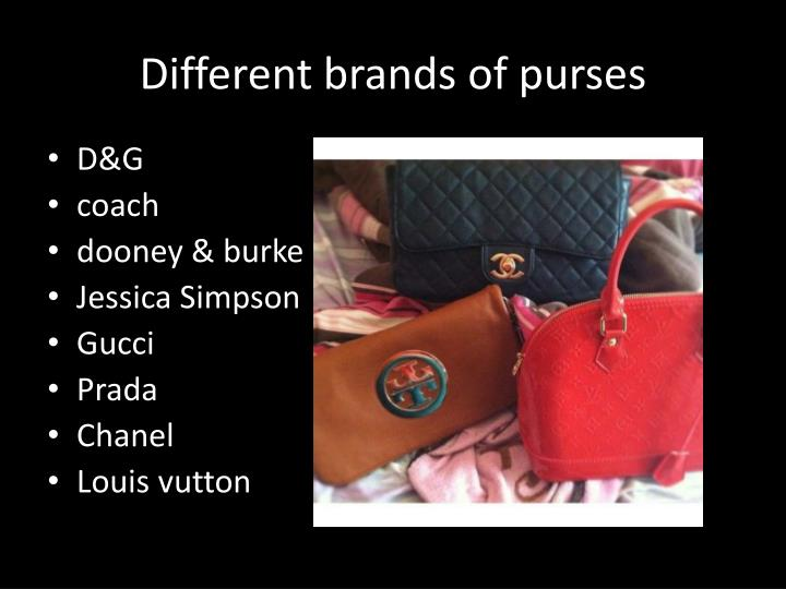 Different brands of purses