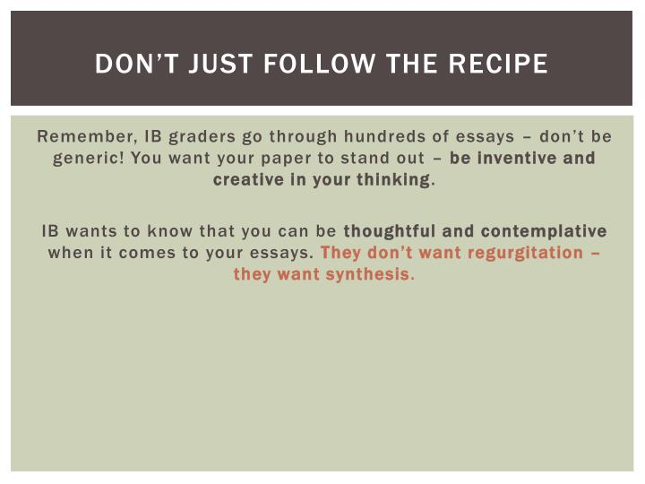 Don't just follow the recipe