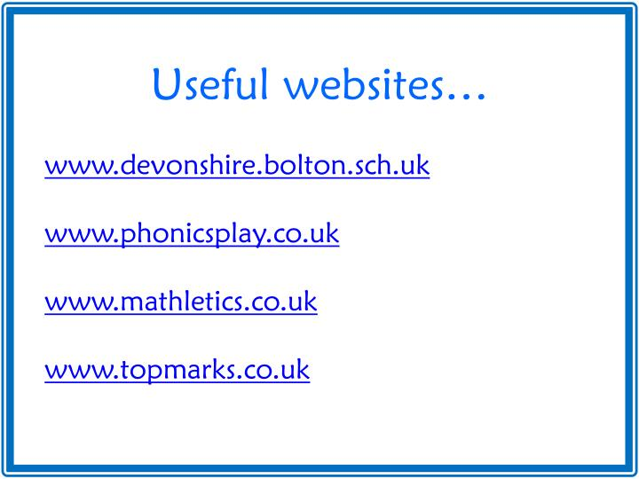 Useful websites…