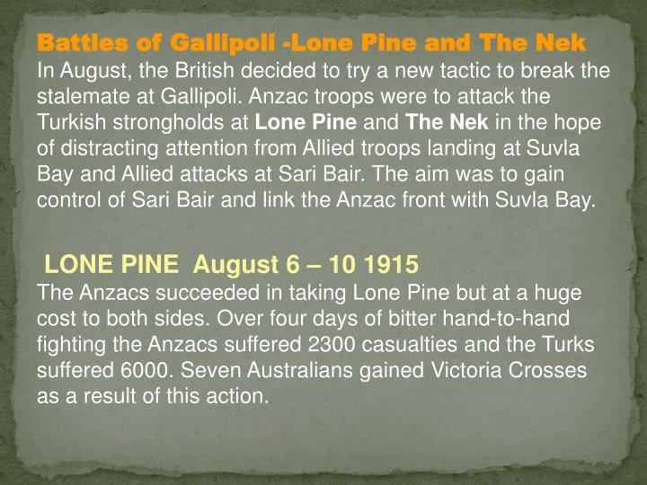 Battles of Gallipoli -Lone Pine and The Nek