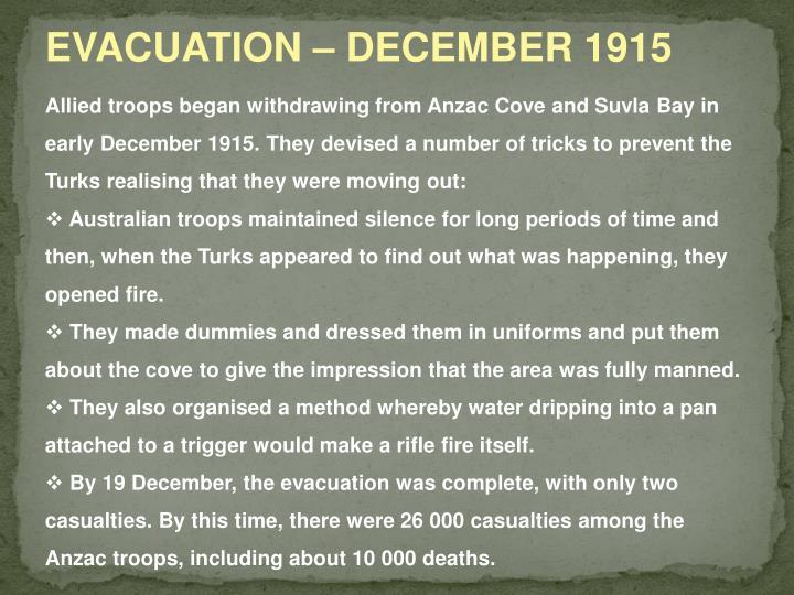EVACUATION – DECEMBER 1915