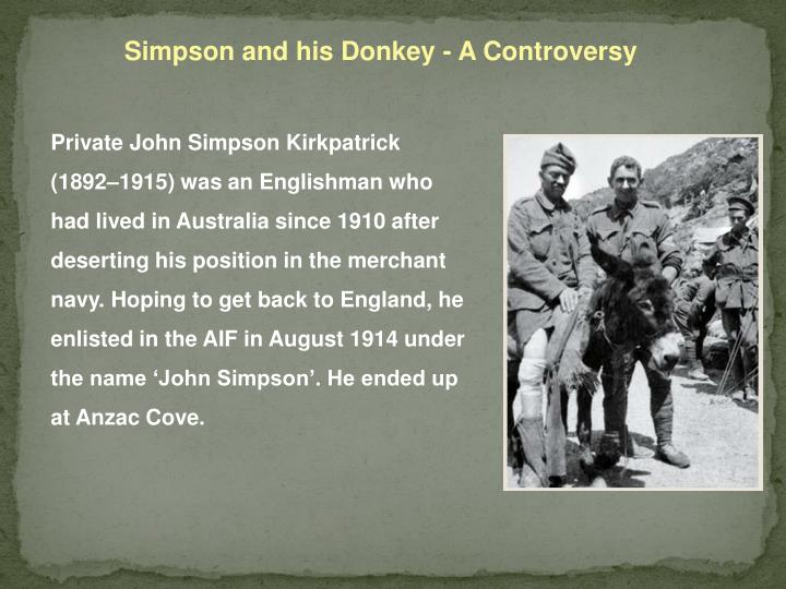 Simpson and his Donkey - A Controversy