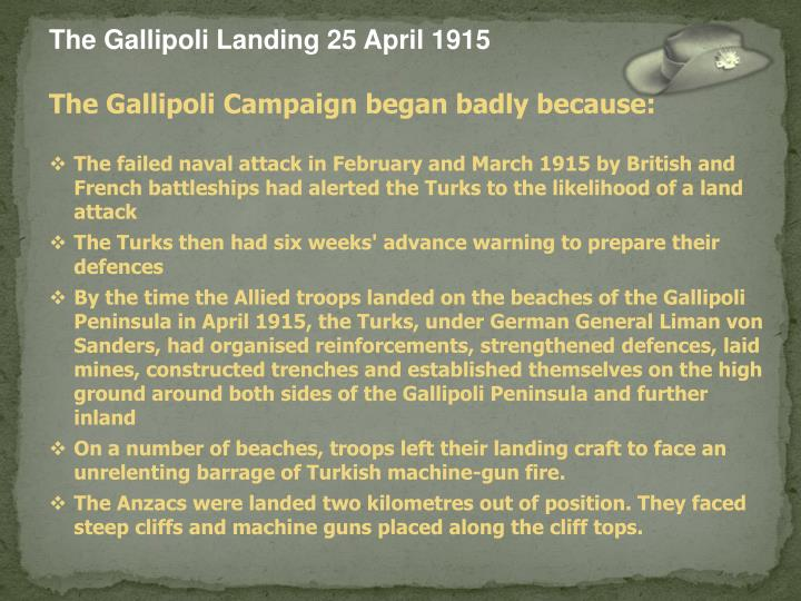 The Gallipoli Landing 25 April 1915