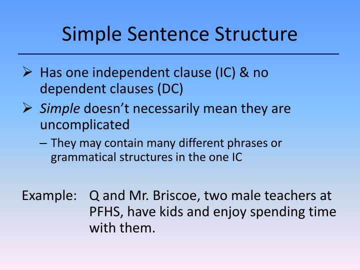 Simple sentence structure