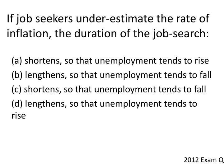 If job seekers under-estimate the rate of inflation, the duration of the