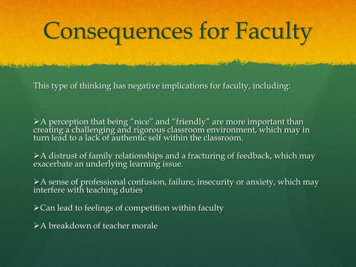 Consequences for Faculty