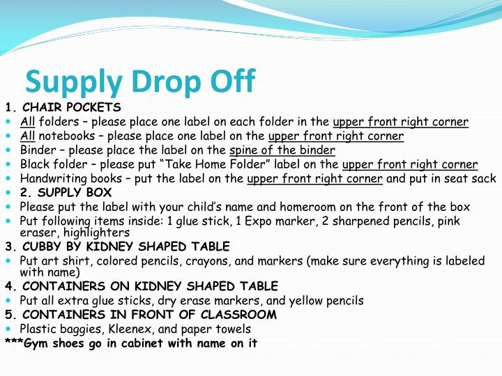 Supply Drop Off