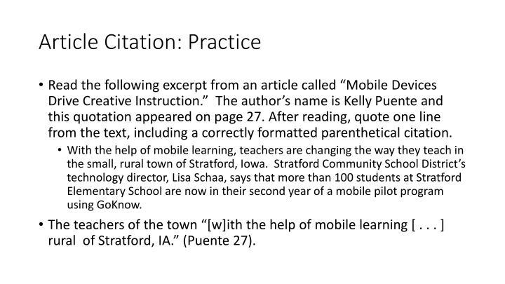 Article Citation: Practice