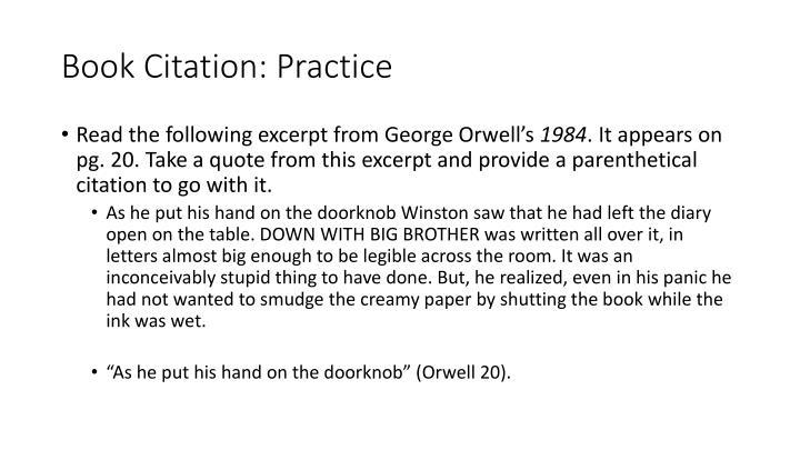 Book Citation: Practice
