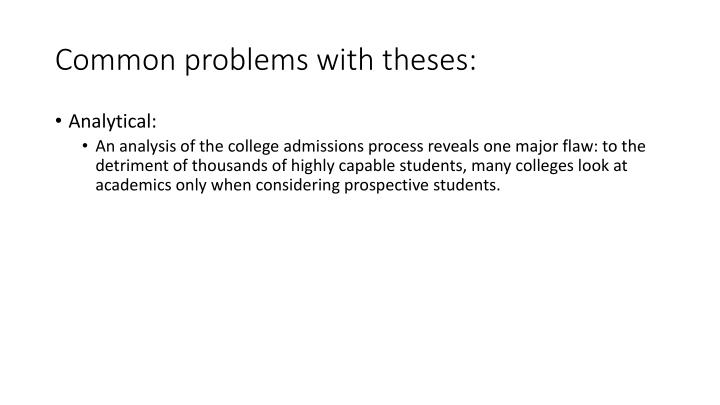 Common problems with theses: