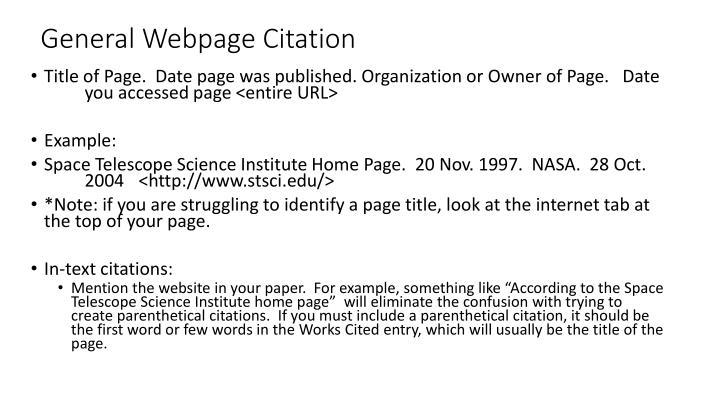 General Webpage Citation