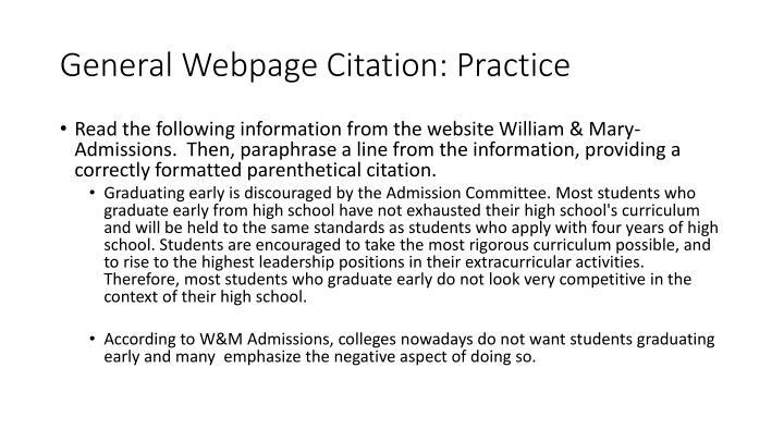 General Webpage Citation: Practice