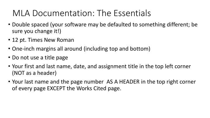 MLA Documentation: The Essentials