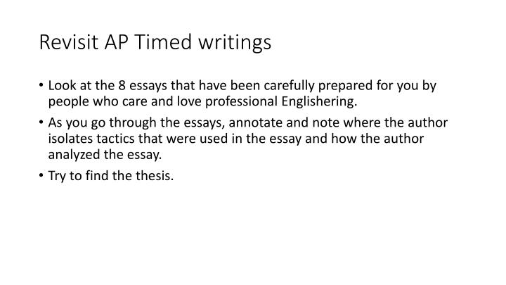 Revisit AP Timed writings