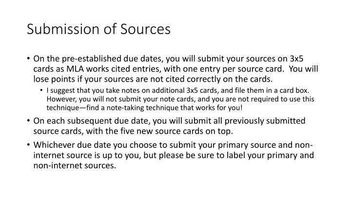 Submission of Sources