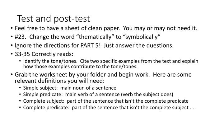 Test and post-test