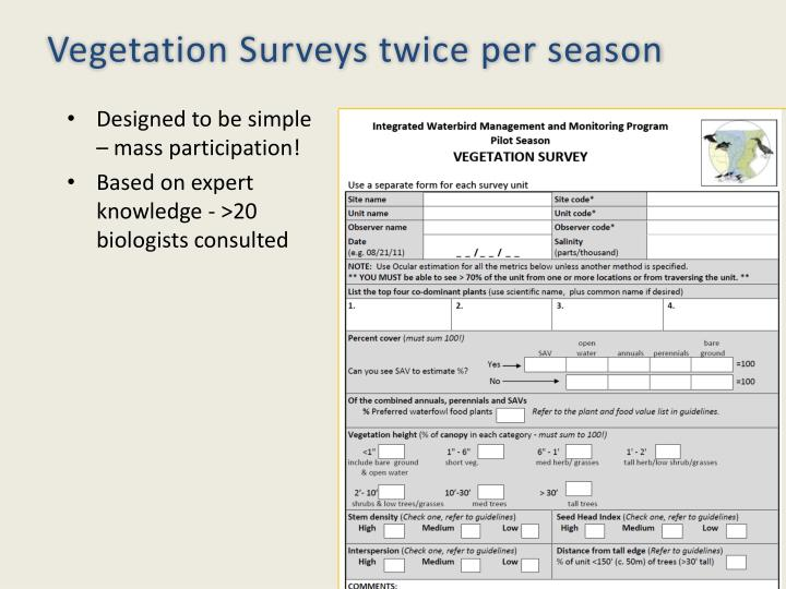 Vegetation Surveys twice per season